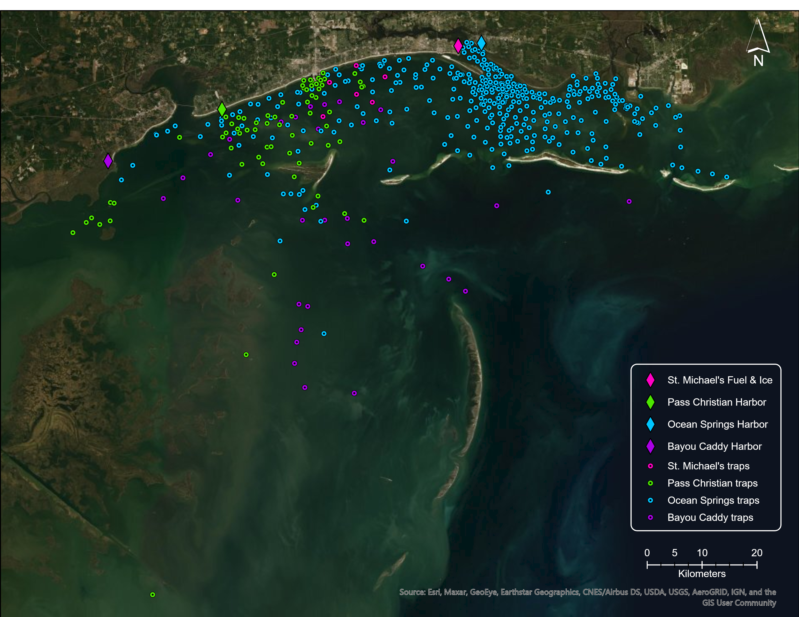 map of derelict crab traps caught and removed by shrimpers participating in derelict trap reward program. The traps are color coded by the sites they were disposed of at.