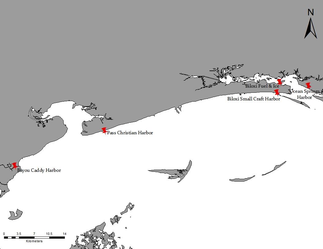 Map of Mississippi Gulf Coast with disposal sites for Derelict Trap Reward Program identified